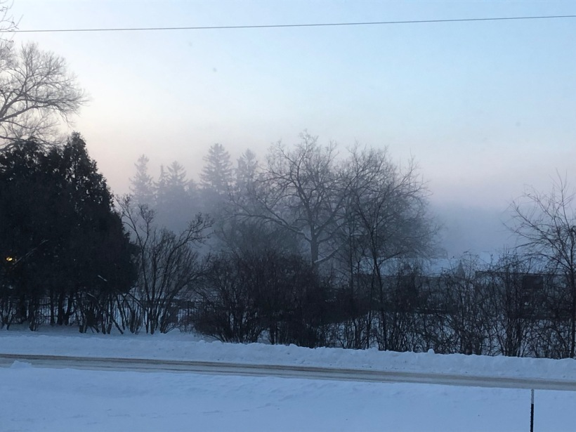 Dawn shot with the river condensing a fog-like layer.